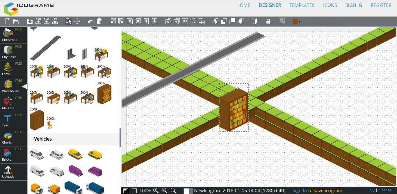 Icograms: créer cartes, plans et scènes en 3D isométrique simplement