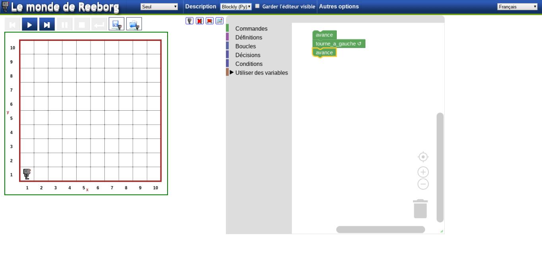 Reeborg: S'initier à la programmation en python ou Javascript en ligne