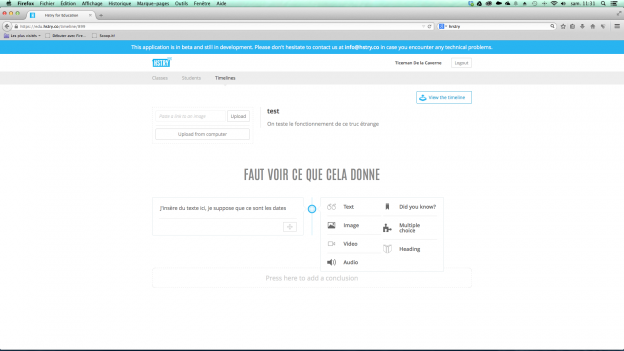 Hstry: présentez documents, textes, médias et quiz sous formes de frise chronologique