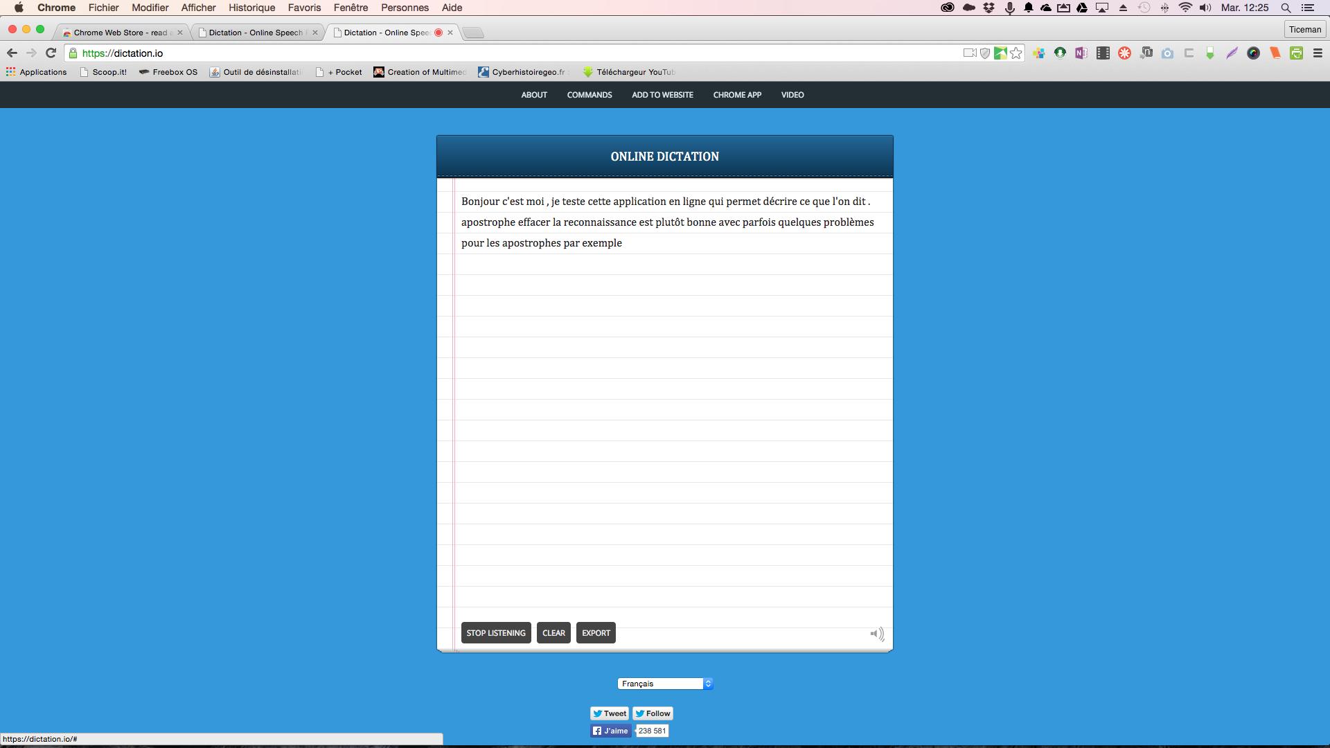 Dictation.io: un excellent service en ligne (avec chrome) de reconnaissance vocale pour dicter vos textes