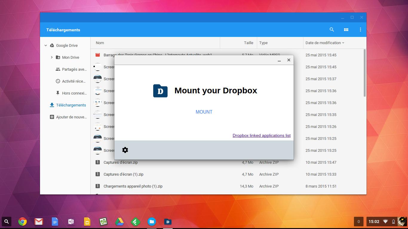 File system for dropbox: votre dropbox intégrée à votre chromebook