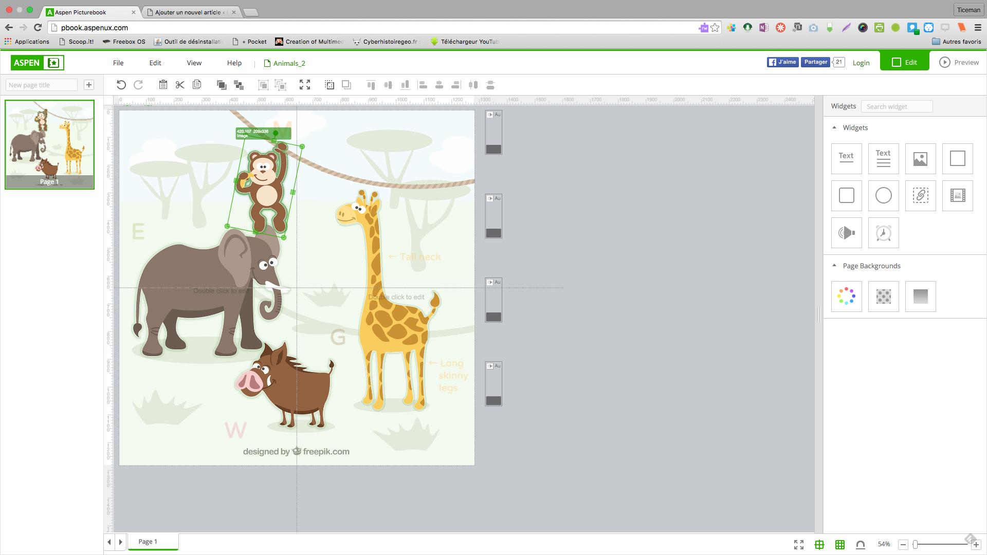 Aspen Picturebook: créer des livres animés et sonorisés en html5 ou epub3 en ligne