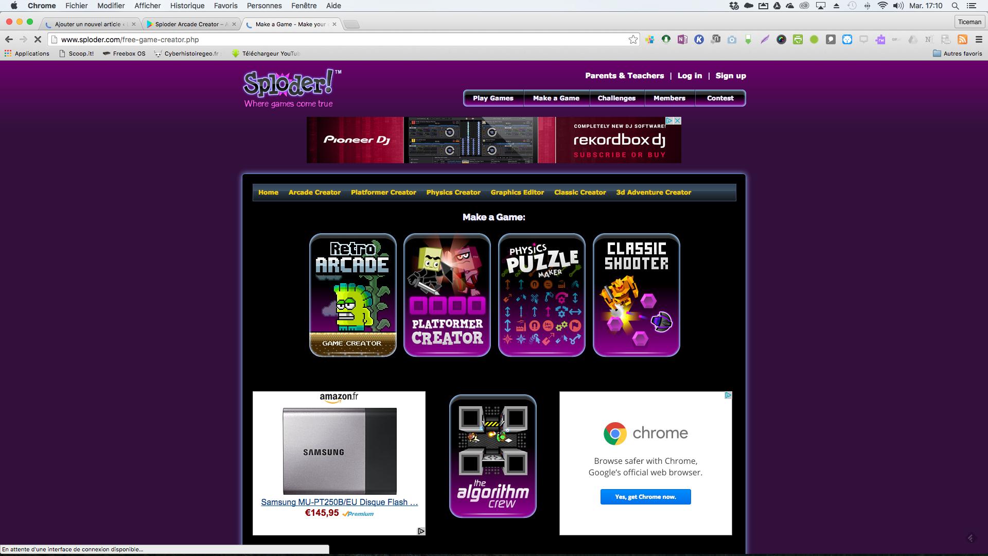 Sploder: créer des jeux vidéos en 2D en ligne, sur Android et iPad