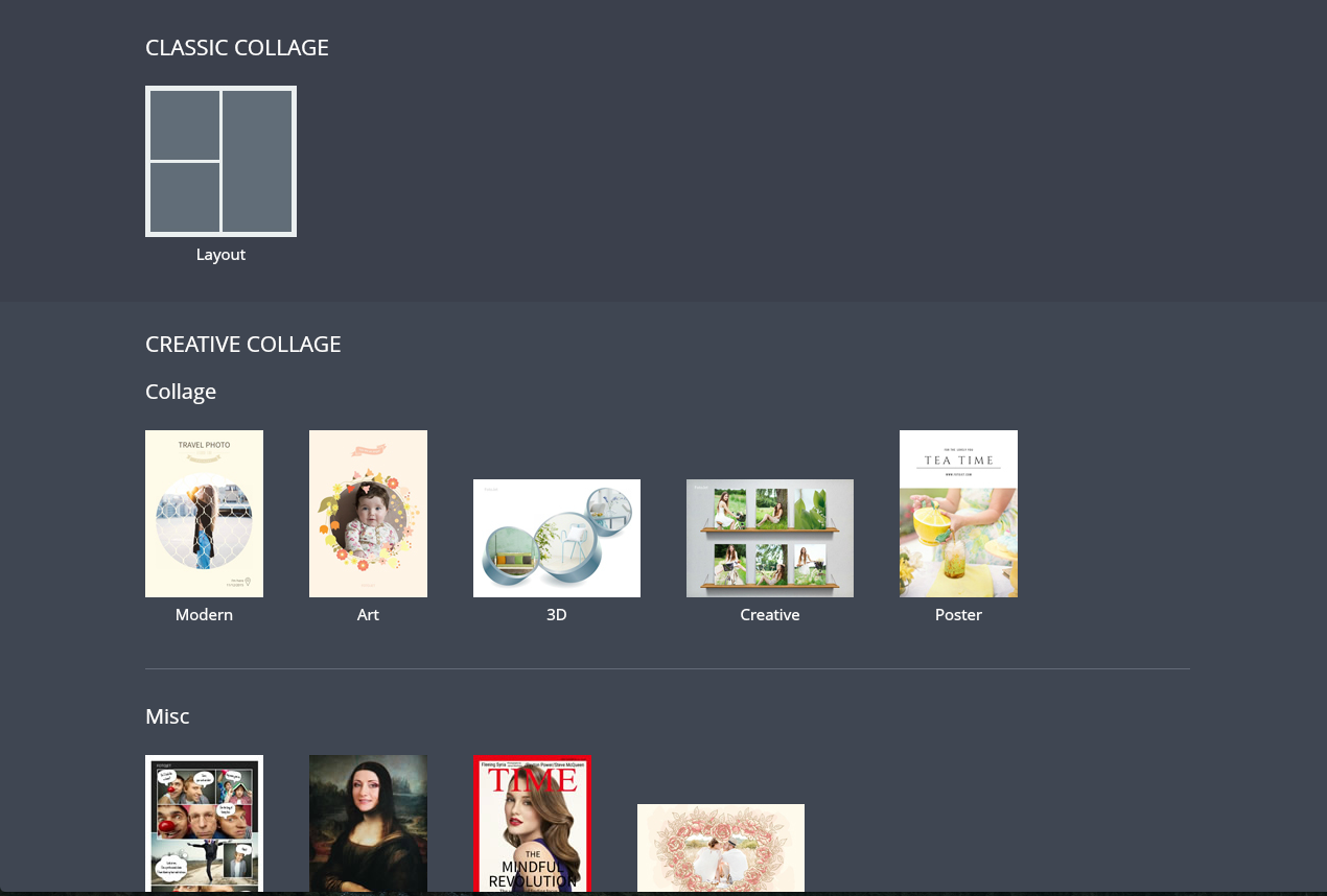 Fotojet: collages, poster et bandes dessinées dans un seul service en ligne