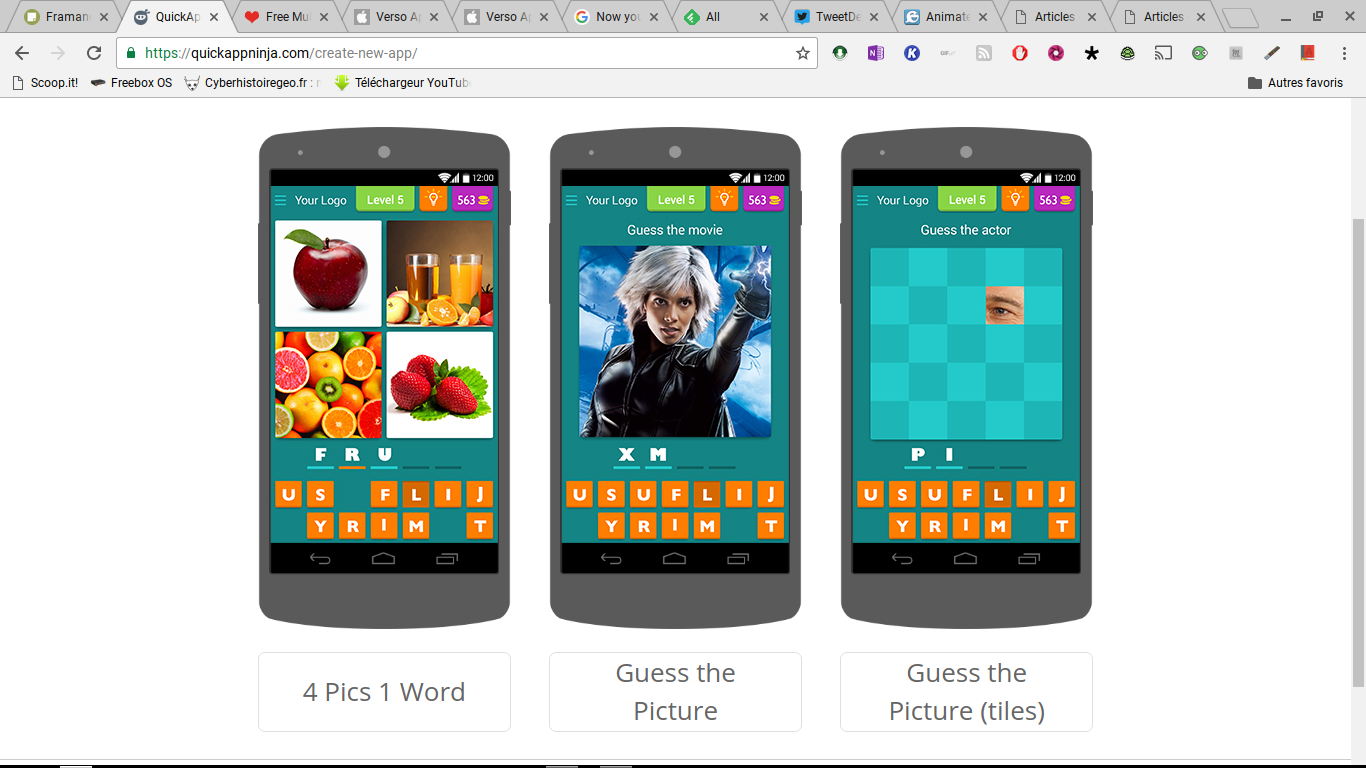 QuickApp Ninja: créer des applications Android sous forme de jeux de lettres