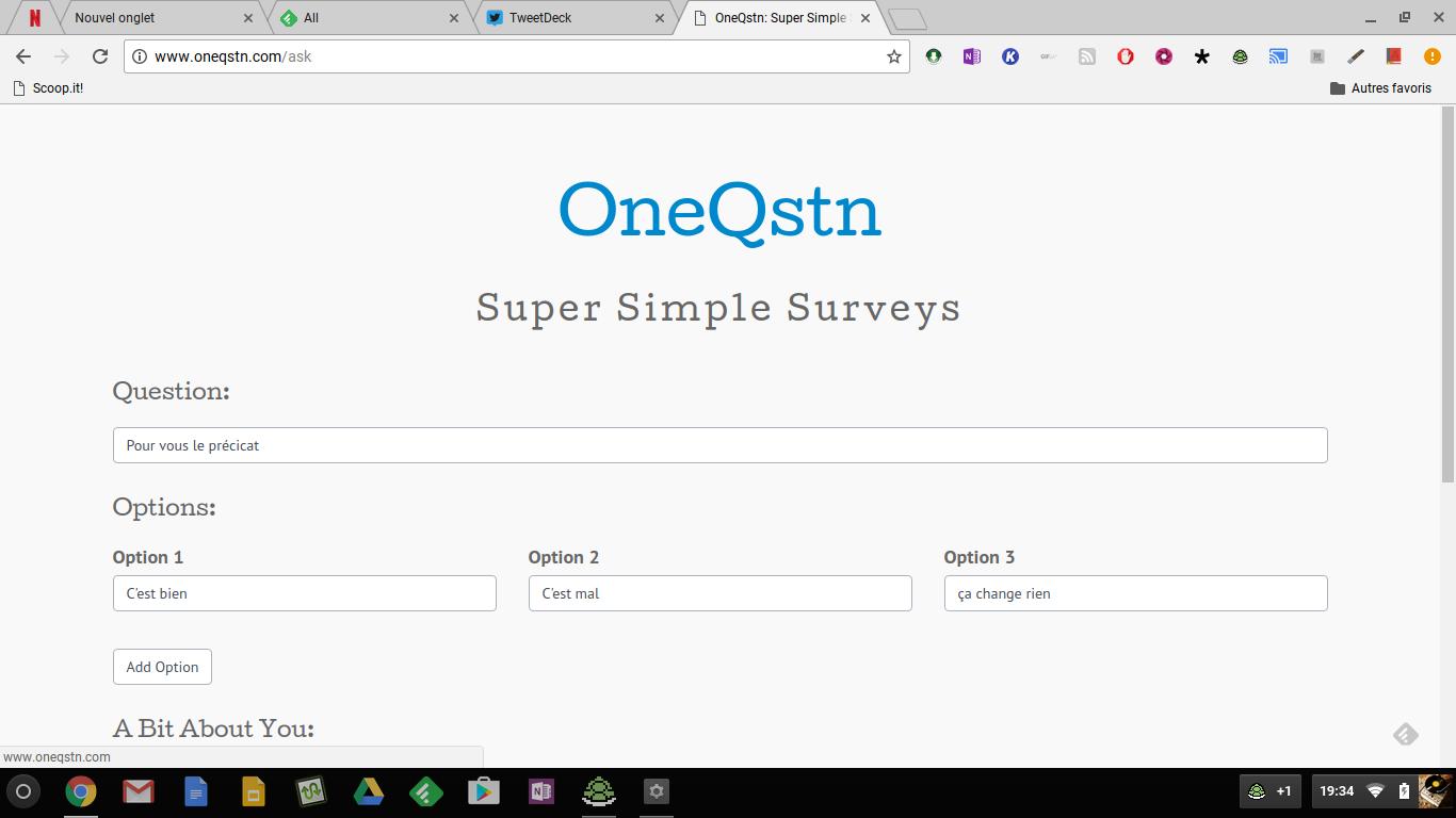 OneQstn: créer des sondages en ligne et sans inscription