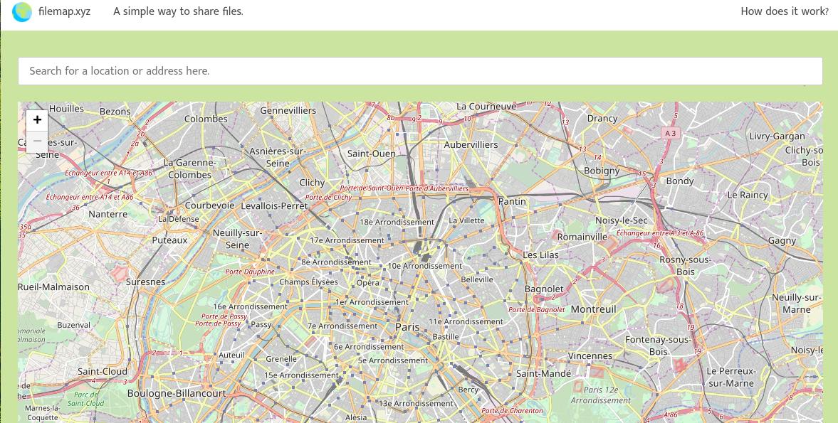 Filemap XYZ: partagez vos fichiers par l'intermédiaire d'une carte et sans inscription