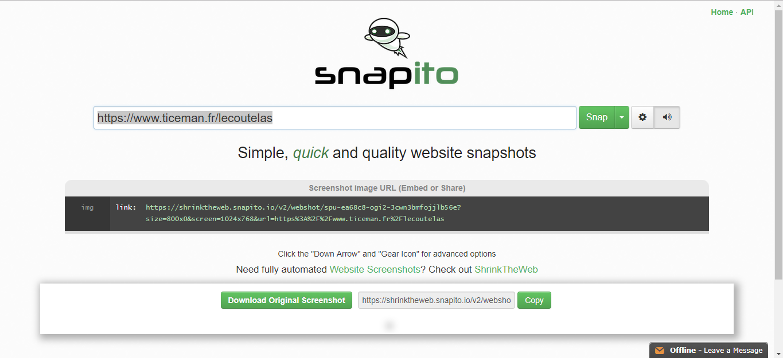 Snapito: capturez en une image vos sites préférés