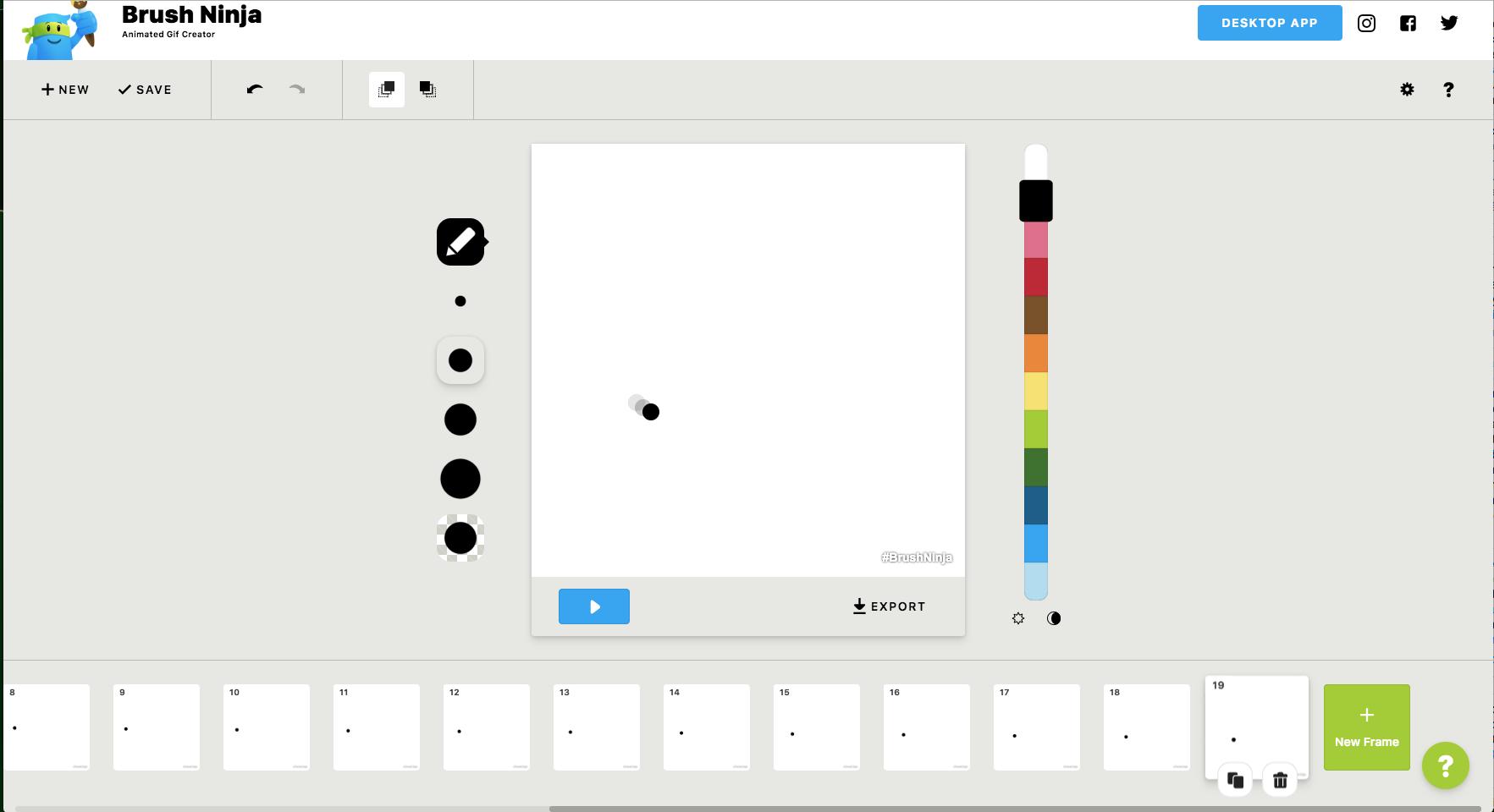 Brush ninja: créez vos gifs animés en dessinant et initiez vous à l'animation image par image